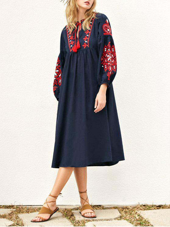shop Lantern Sleeve Embroidered Smock Dress - PURPLISH BLUE L