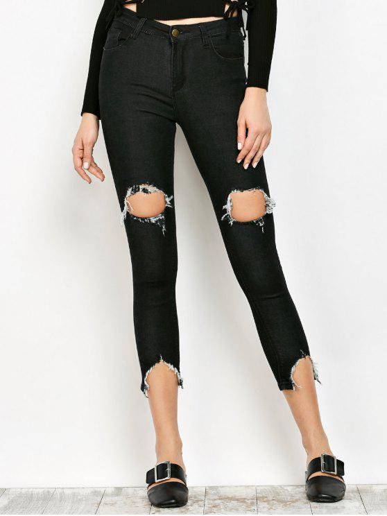 hot Zip Fly Ripped Narrow Feet Jeans - BLACK L
