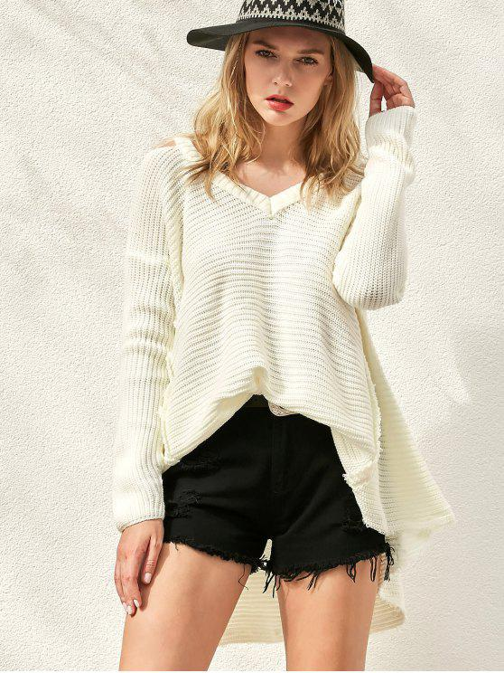 Suéter del color del hombro cuello en V fría sólida - Blanco Única Talla