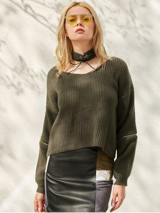 women's Zippered Cropped Jumper With Choker - BLACKISH GREEN ONE SIZE