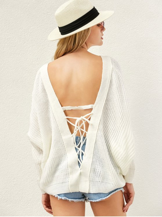 women Back Lace Up Loose Fitting V Neck Sweater - WHITE ONE SIZE