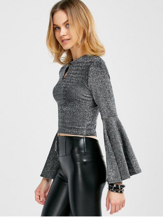 ladies Sparkly and Glitter Bell Sleeve Keyhole Top - SILVER M