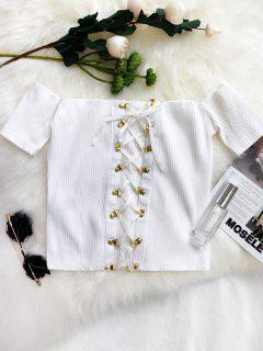 Lace Up Off The Shoulder Cropped Top - White