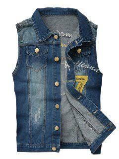 Embroidered Scratched Chest Pocket Denim Waistcoat - Blue L