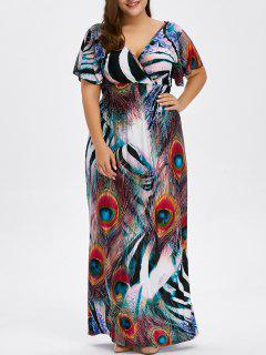 Peacock Feather Backless Plus Size Long Maxi Dress - Red Xl