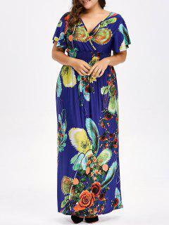 Floral Plus Size Maxi V Neck Empire Waist Dress - Blue Xl