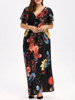 Floral Plus Size Maxi V Neck Empire Waist Dress - Black Xl