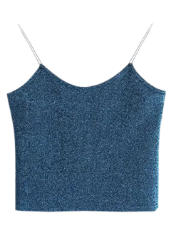 Glitter Cropped Cami Top - Peacock Blue