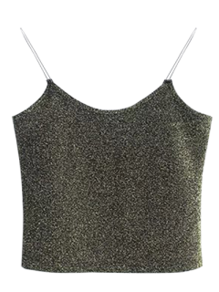 Glitter Cropped Cami Top - Green