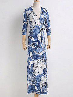 Chinese Floral Painting Wrap Dress - Blue M