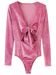 Front Knot Low Cut Velvet Bodysuit - Deep Pink S