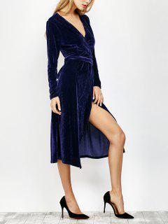 Cuello En V Vestido De Corte Largo Abrigo De Terciopelo - Azul Profundo S