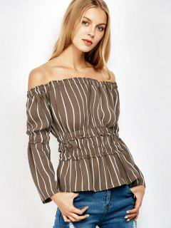 Ruched Off The Shoulder Striped Blouse - Stripe 2xl