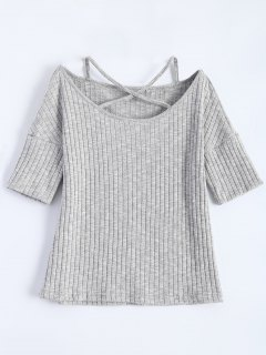 Criss-Cross Ribbed T-Shirt - Light Gray M