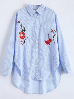 Hendidura Floral De La Camisa Bordada De Rayas - Raya S