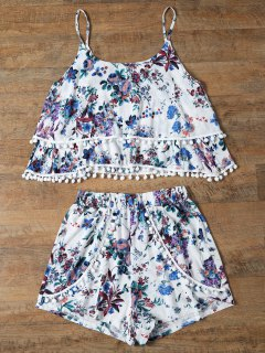 Floral Print Layered Cami Top And Shorts - Blue Xl