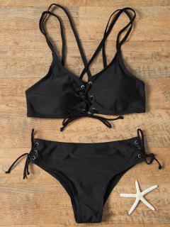 Lace-Up Cross Back Strappy Bikini Swimwear - Black Xl