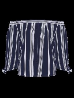 Off The Shoulder Bowknot Stripe Blouse - Cadetblue M