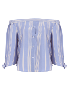 Off The Shoulder Bowknot Stripe Blouse - Light Blue M