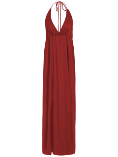 Strappy Sateen Maxi Evening Dress - Red M