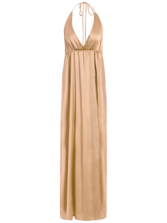 Halterneck Maxi Evening Prom Dress - Khaki S