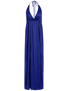 Haute Slit Croisillon Maxi Dress - Bleu S