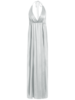 Strappy Sateen Maxi Evening Dress - White S