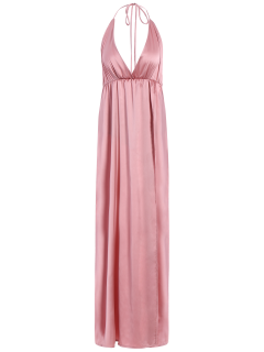 Strappy Sateen Maxi Evening Dress - Pink L
