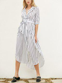 Slit Striped Long Sleeve Dress With Pockets - White L