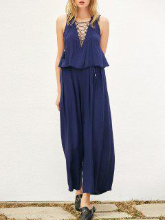 Layered Lace Up Palazzo Jumpsuit - Bleu Cadette M