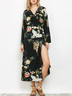 Oriental Print Midi Wrap Dress - Black L