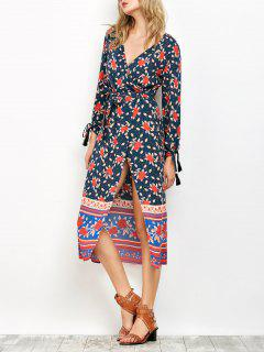 Bubble Sleeve Printed Wrap Dress - Cadetblue S