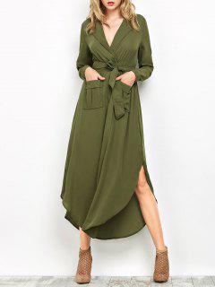 Chiffon Lapel Collar Longline Blouse - Green M