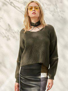Zippered Cropped Jumper With Choker - Blackish Green