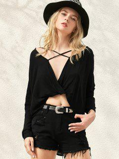 Surplice High Low T-Shirt - Black M