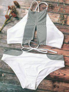 La Raya Del Recorte Del Bikini De Cuello Alto - Blanco M