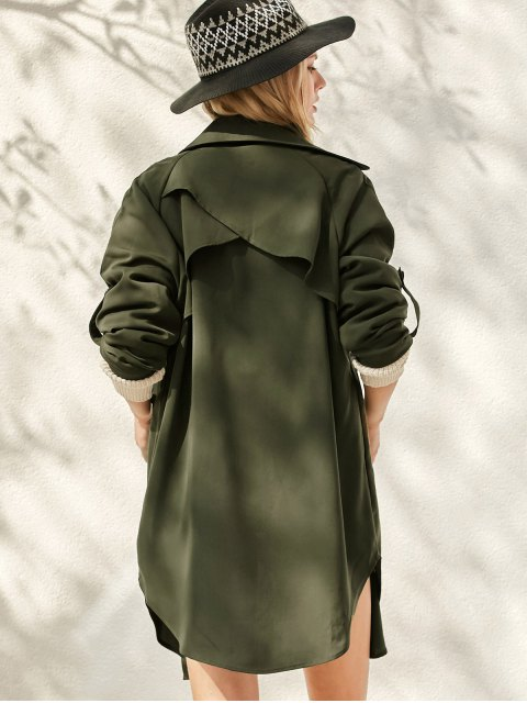latest Buttoned Waterfall Trench Coat - ARMY GREEN S Mobile