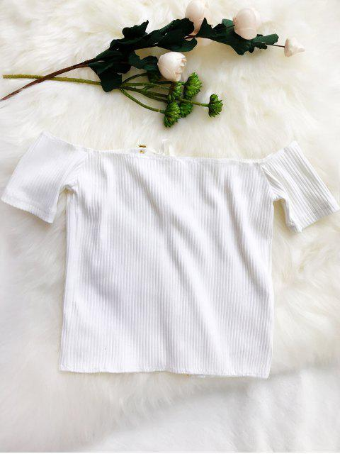 new Lace Up Off The Shoulder Cropped Top - WHITE ONE SIZE Mobile