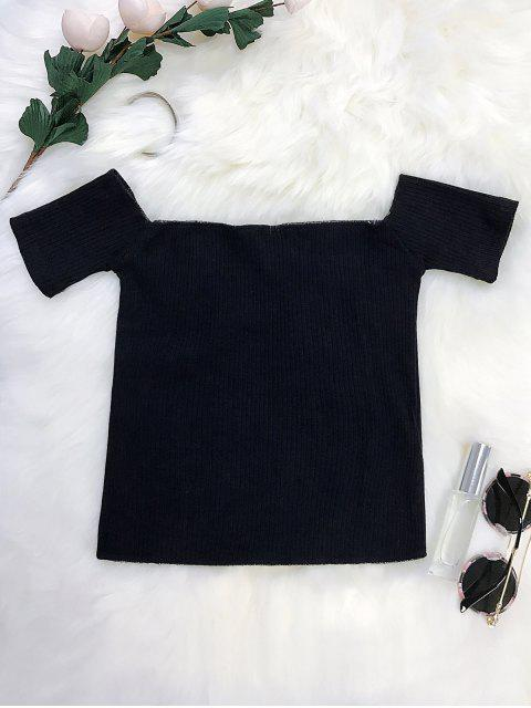 ladies Lace Up Off The Shoulder Cropped Top - BLACK ONE SIZE Mobile