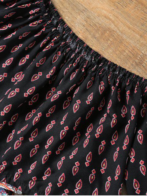Minuscule Floral Encolure Crop Top et Short - Noir XL Mobile