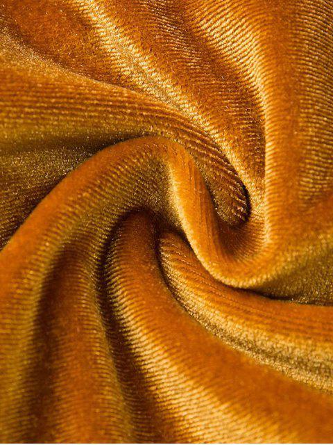 sale Front Knot Low Cut Velvet Bodysuit - DEEP PINK S Mobile