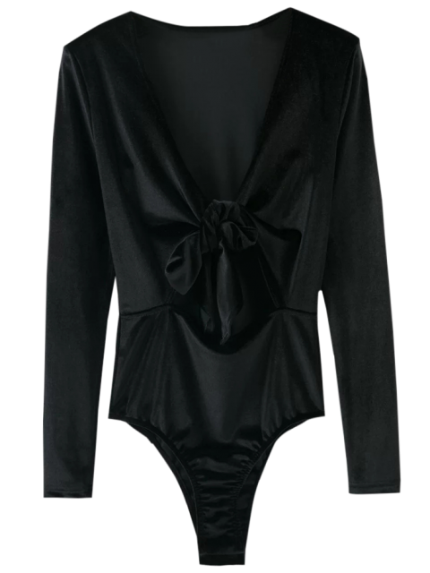women's Front Knot Low Cut Velvet Bodysuit - BLACK M Mobile