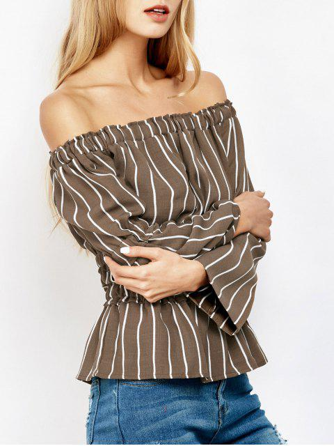 womens Ruched Off The Shoulder Striped Blouse - STRIPE L Mobile