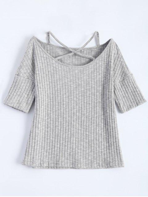 T-shirt côtelé avec bretelle croisée - Gris Clair L Mobile