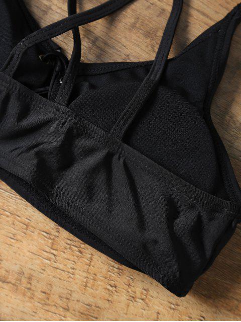 trendy Lace-Up Cross Back Strappy Bikini Swimwear - BLACK L Mobile