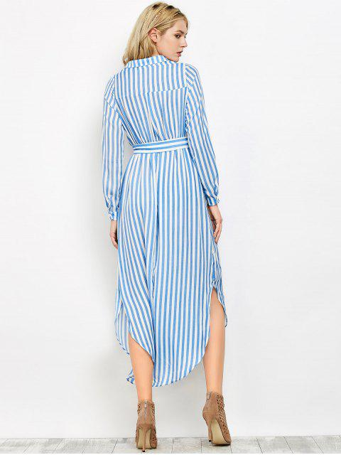 fancy Striped Slit Maxi Dress With Pockets - BLUE L Mobile