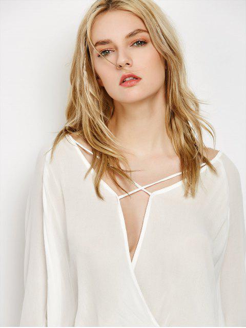 fashion Surplice High Low T-Shirt - WHITE S Mobile