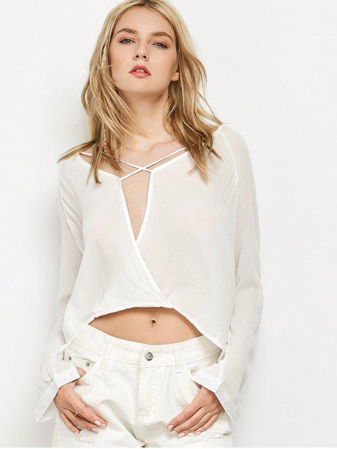 T-shirt surplis haut bas à manches longues - Blanc S Mobile