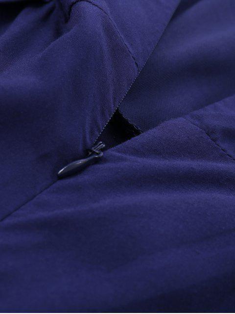 unique Layered Lace Up Palazzo Jumpsuit - CADETBLUE M Mobile