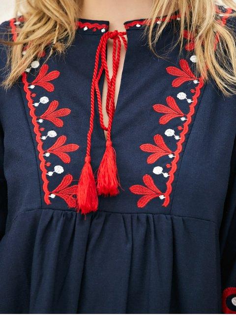 latest Lantern Sleeve Embroidered Smock Dress - PURPLISH BLUE S Mobile